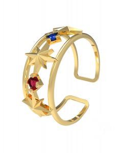 Shining Stars Ring, in 18 K yellow gold and amethyst, sapphire and ruby stones