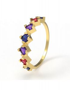 Shine Your True Colors Ring, in 18 K yellow gold and amethyst, sapphire and ruby stones
