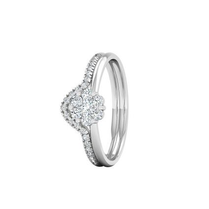 Flower Diamond rings in 18 K white gold and diamonds
