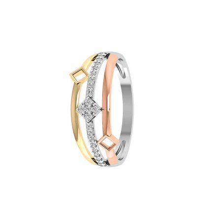 Three Band Square Ring in 18K gold and diamonds