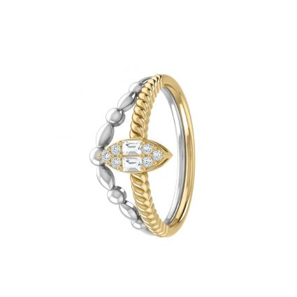 Oval Diamond rings in 18K white and yellow gold and diamonds