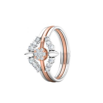 Triple Row Diamond rings in 18K white and rose gold and diamonds