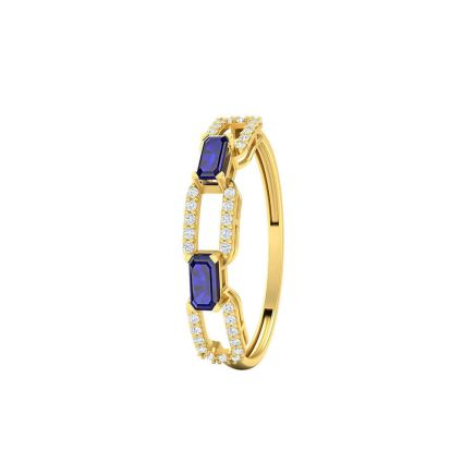 Multi-Frame Ring, in 18K yellow gold and blue stones