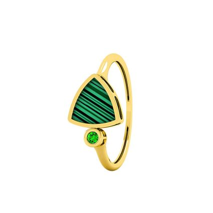 Triangle Ring, in 18 K yellow gold and green Mother of Pearl