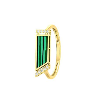 The Green ring in 18K yellow gold and colored stones