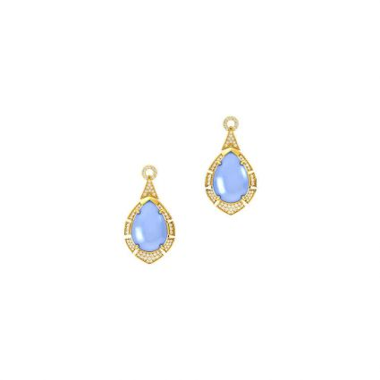 Multicolored Earring in 18K yellow gold and colored stones