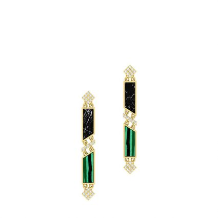 The Green earrings in 18K yellow gold and colored stones