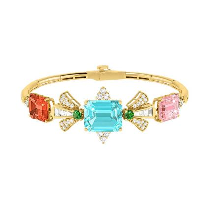 Multicoloredbracelet in 18K yellow gold and colored stones