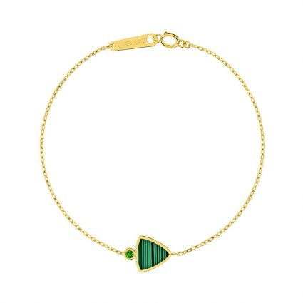 Triangle Bracelet, in 18 K yellow gold and green Mother of Pearl