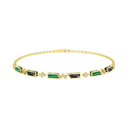 The Green bracelet  in 18K yellow gold and colored stones