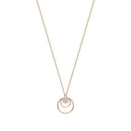 Yellow gold circle necklace in 18K rose gold and diamonds