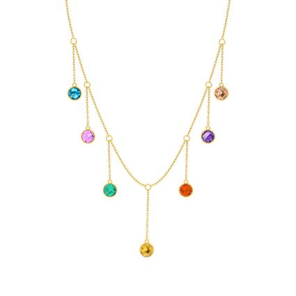 Multicolored Necklace in 18 K yellow gold and colored stones