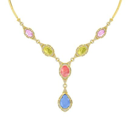 Multicolored Neckalce in 18K yellow gold and colored stones