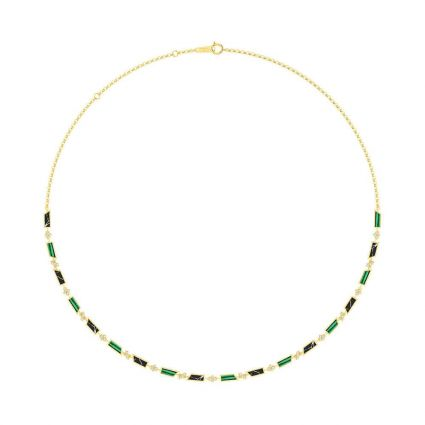 The Green necklace in 18K yellow gold and colored stones
