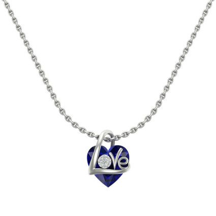 Love Necklace, in 18 K White gold , Diamond and colored stones