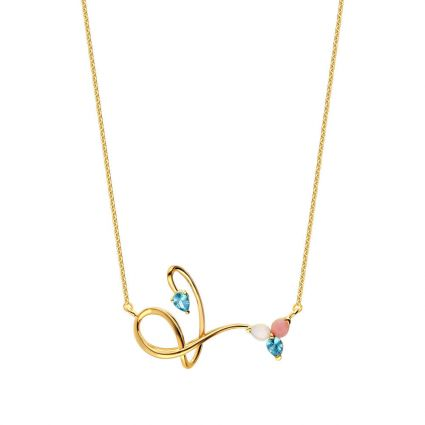 Cupid's Arrow Necklace in 18 K yellow gold and colored stones
