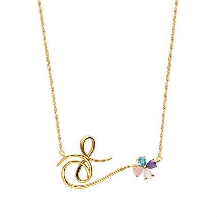 Bound for Infinity Necklace in 18 K yellow gold and colored stones