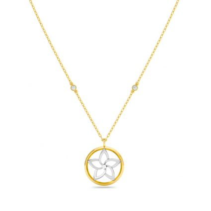 Flower Flow Necklace in 18K Yellow and rose Gold