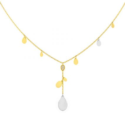 Diamond Drops Necklace in 18K Yellow and Rose Gold