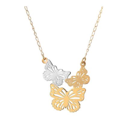 Flock of Butterflies Necklace in 18 K yellow and white gold