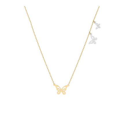 Dancing Butterflies Necklace, in 18 k yellow and white gold