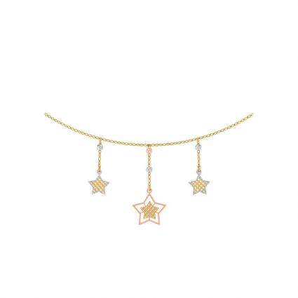 Three Stars Necklace, in 18 K yellow gold