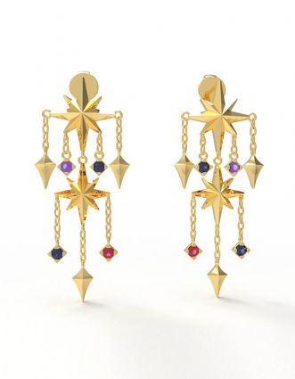 Shining Stars Earrings, in 18 K yellow gold and amethyst, sapphire and ruby stones