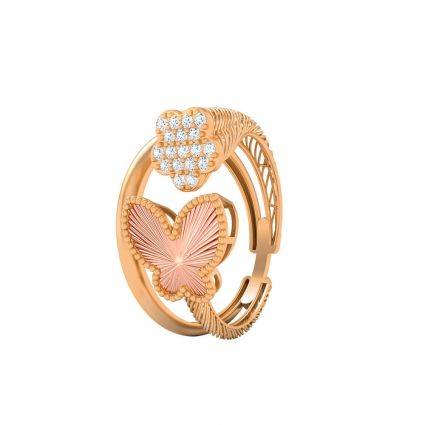 Butterfly and Flower ring in 21K yellow and white gold