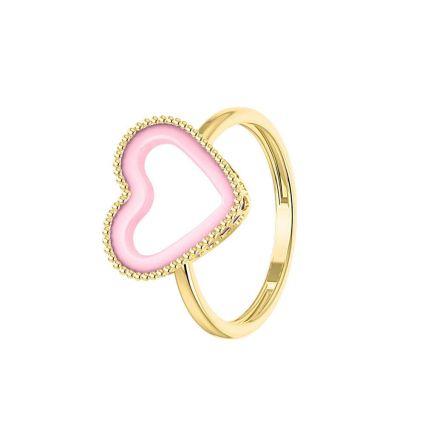 My Pink Heart ring in 18k yellow gold and ceramic