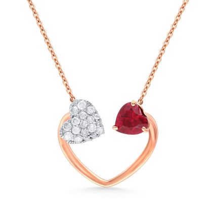Made for Each Other Necklace in 18K rose gold, rubies and diamonds