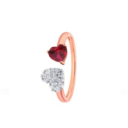 Made for Each Other Ring in 18K rose gold, rubies and diamonds